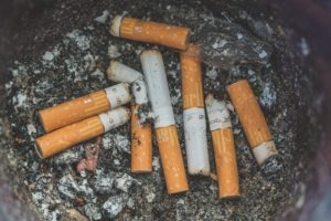 used cigarettes in ashtray